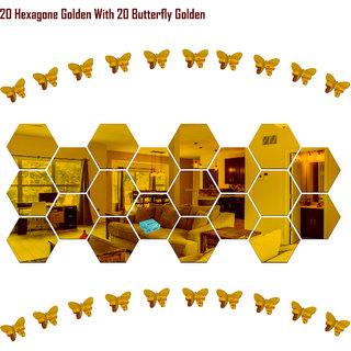 Look Decor-20 Hexagon With Butterfly-(Golden-Pack of 20)-3D Acrylic Mirror Wall Stickers Decoration for Home Wall Office Wall Stylish and Latest Product Code Number 250