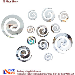 Look Decor-12 Rings-(Silver-Pack of 12)-3D Acrylic Mirror Wall Stickers Decoration for Home Wall Office Wall Stylish and Latest Product Code Number 630