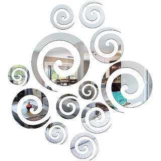 Look Decor-12 Rings-(Silver-Pack of 12)-3D Acrylic Mirror Wall Stickers Decoration for Home Wall Office Wall Stylish and Latest Product Code Number 632
