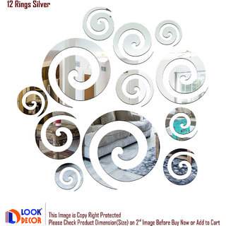 Look Decor-12 Rings-(Silver-Pack of 12)-3D Acrylic Mirror Wall Stickers Decoration for Home Wall Office Wall Stylish and Latest Product Code Number 633