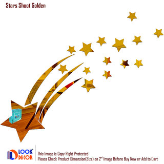 Look Decor-18 Stars Shoot-(Golden-Pack of 18)-3D Acrylic Mirror Wall Stickers Decoration for Home Wall Office Wall Stylish and Latest Product Code Number 636