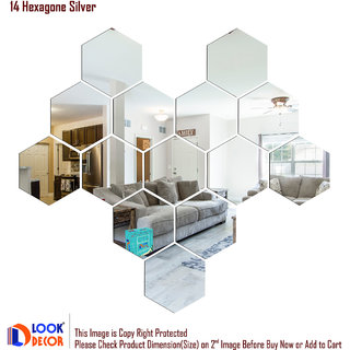 Look Decor-14 Hexagon-(Silver-Pack of 14)-3D Acrylic Mirror Wall Stickers Decoration for Home Wall Office Wall Stylish and Latest Product Code Number 270