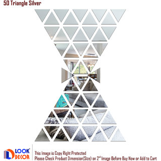Look Decor-50 Triangle-(Silver-Pack of 50)-3D Acrylic Mirror Wall Stickers Decoration for Home Wall Office Wall Stylish and Latest Product Code Number 657