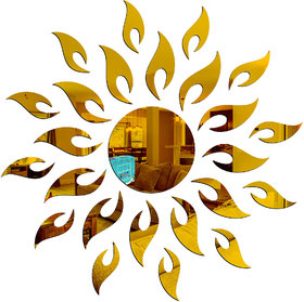 Look Decor-Sun Flame-(Golden-Pack of 25)-3D Acrylic Mirror Wall Stickers Decoration for Home Wall Office Wall Stylish and Latest Product Code Number 399