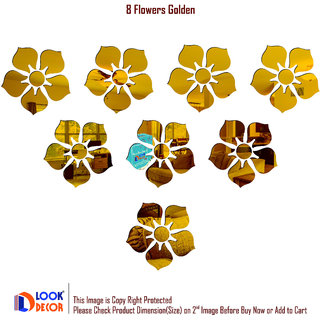 Look Decor-8 Flowers-(Golden-Pack of 8)-3D Acrylic Mirror Wall Stickers Decoration for Home Wall Office Wall Stylish and Latest Product Code Number 351