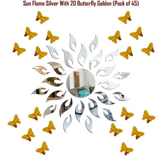 Look Decor-Sun With Butterfly-(Silver-Pack of 25)-3D Acrylic Mirror Wall Stickers Decoration for Home Wall Office Wall Stylish and Latest Product Code Number 387