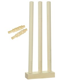Cricket Combo of 3 Pcs Wooden Stumps or Wickets, Wooden Base and 2 Bails (Complete Stumps Set for T-20 and ODI Matches)