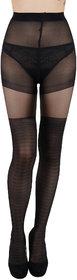 N2S NEXT2SKIN Women's Sheer Transparent Designer Pantyhose/Stocking (Black)