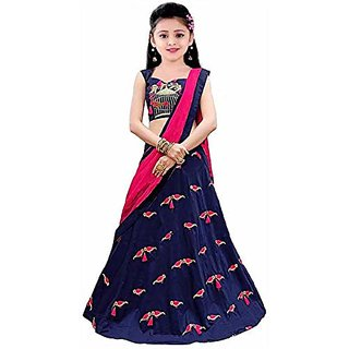 Femisha Creation Navy Blue Color Simple Embroidered Kids Girls Wedding Wear Semi Stitched Lehenga Choli Free Size.