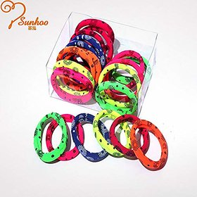Iconic Bright Printed Multicolor Nylon Hair Ring High Elastic Rubber Band (12 pieces)
