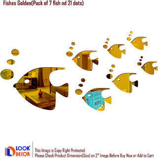 Look Decor-7 Fishes 21 Dot-(Golden-Pack of 28)-3D Acrylic Mirror Wall Stickers Decoration for Home Wall Office Wall Stylish and Latest Product Code Number 1316