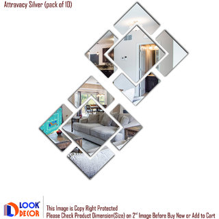 Look Decor-Attravacy-(Silver-Pack of 10)-3D Acrylic Mirror Wall Stickers Decoration for Home Wall Office Wall Stylish and Latest Product Code Number 1328