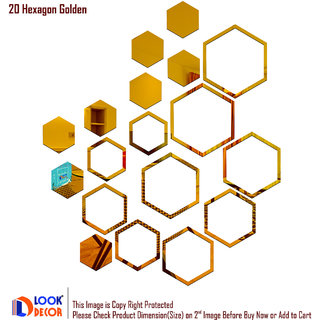 Look Decor-20 Shape Hexagon-(Golden-Pack of 20)-3D Acrylic Mirror Wall Stickers Decoration for Home Wall Office Wall Stylish and Latest Product Code Number 983