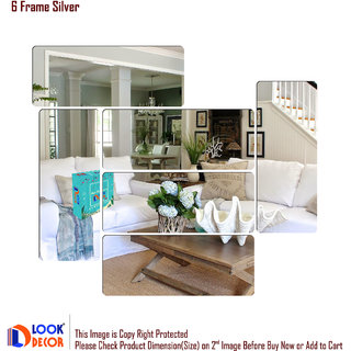 Look Decor-6 Frame-(Silver-Pack of 6)-3D Acrylic Mirror Wall Stickers Decoration for Home Wall Office Wall Stylish and Latest Product Code Number 1359