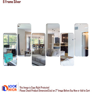 Look Decor-6 Frame-(Silver-Pack of 6)-3D Acrylic Mirror Wall Stickers Decoration for Home Wall Office Wall Stylish and Latest Product Code Number 1361