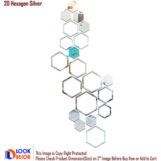 Look Decor-20 Shape Hexagon-(Silver-Pack of 20)-3D Acrylic Mirror Wall Stickers Decoration for Home Wall Office Wall Stylish and Latest Product Code Number 996