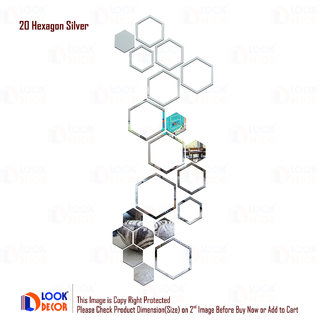 Look Decor-20 Shape Hexagon-(Silver-Pack of 20)-3D Acrylic Mirror Wall Stickers Decoration for Home Wall Office Wall Stylish and Latest Product Code Number 1005