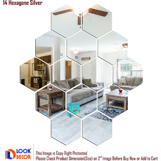 Look Decor-14 Hexagon-(Silver-Pack of 14)-3D Acrylic Mirror Wall Stickers Decoration for Home Wall Office Wall Stylish and Latest Product Code Number 1061