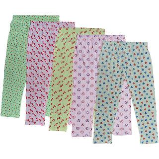 IndiWeaves Girls Combo Pack Of Cotton Printed Capri (Pack Of 5)