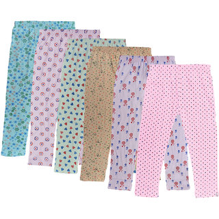IndiWeaves Girls Combo Pack Of Cotton Printed Capri (Pack Of 6)