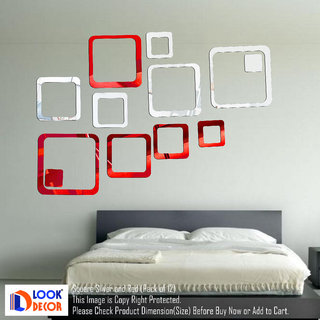 Look Decor-12 Square-(Silver Red-Pack of 12)-3D Acrylic Mirror Wall Stickers Decoration for Home Wall Office Wall Stylish and Latest Product Code Number 838