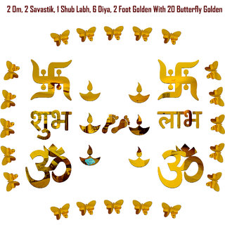 Look Decor-Om Swastik With Butterfly-(Golden-Pack of 14)-3D Acrylic Mirror Wall Stickers Decoration for Home Wall Office Wall Stylish and Latest Product Code Number 1220