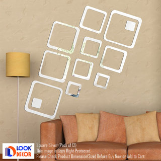 Look Decor-12 Square-(Silver-Pack of 12)-3D Acrylic Mirror Wall Stickers Decoration for Home Wall Office Wall Stylish and Latest Product Code Number 849