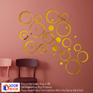 Look Decor-30 Ring And Dots-(Golden-Pack of 30)-3D Acrylic Mirror Wall Stickers Decoration for Home Wall Office Wall Stylish and Latest Product Code Number 957