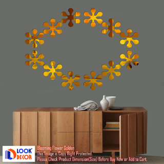 Look Decor-12 Blooming Flowers-(Golden-Pack of 12)-3D Acrylic Mirror Wall Stickers Decoration for Home Wall Office Wall Stylish and Latest Product Code Number 1334