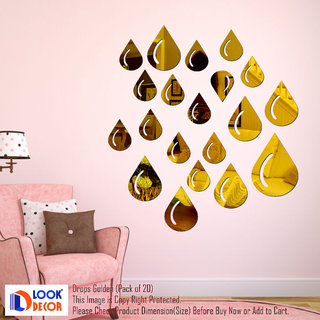 Look Decor-19 Drops-(Golden-Pack of 19)-3D Acrylic Mirror Wall Stickers Decoration for Home Wall Office Wall Stylish and Latest Product Code Number 1341