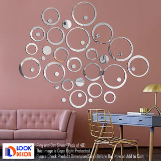 Look Decor-40 Ring And Dots-(Silver-Pack of 40)-3D Acrylic Mirror Wall Stickers Decoration for Home Wall Office Wall Stylish and Latest Product Code Number 977