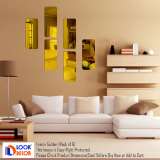 Look Decor-6 Frame-(Golden-Pack of 6)-3D Acrylic Mirror Wall Stickers Decoration for Home Wall Office Wall Stylish and Latest Product Code Number 1356