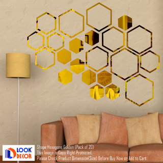 Look Decor-20 Shape Hexagon-(Golden-Pack of 20)-3D Acrylic Mirror Wall Stickers Decoration for Home Wall Office Wall Stylish and Latest Product Code Number 992