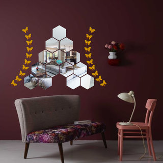 Look Decor-14 Hexagon With Butterfly-(Silver-Pack of 14)-3D Acrylic Mirror Wall Stickers Decoration for Home Wall Office Wall Stylish and Latest Product Code Number 1025