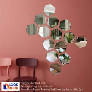 Look Decor-14 Hexagon-(Silver-Pack of 14)-3D Acrylic Mirror Wall Stickers Decoration for Home Wall Office Wall Stylish and Latest Product Code Number 1067