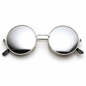 Ivy Vacker Men Silver Mirrored Round Sunglass