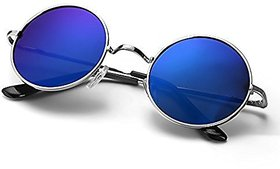Ivy Vacker Blue Mirrored Round sunglass for men