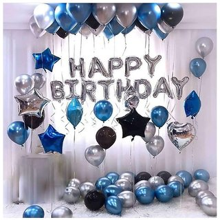 Happy Birthday Letter Foil Balloon Set of Silver + Pack of 30 HD Metallic Balloons (Black, Blue and Silver)