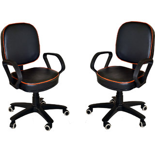 Mezonite Set of 2 Low Back Black Leatherette Office Executive Chair