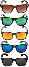 Ivy Vacker Combo of 5  UV Protected WayfarerMulticolor Sunglasses for Men