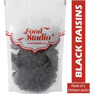 Food Studio Premium Quality Afghan Black Raisins Pack of 3 (200gm each)