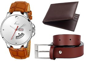 Combo Of Formal And Elegant Brown Day And Date Working Watch & Get Free Belt With Wallet