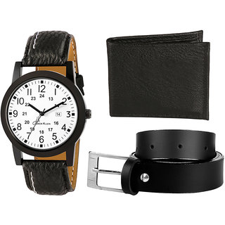 Combo Of Wallet And Belt With Free White Black Strap Dial Watch For Men