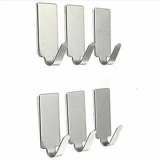 REGAL Rectangular Shape Small Stainless Steel Adhesive Hooks Wall Hooks Cloth Hooks - Load Capacity Upto 1.5 KG (Set of
