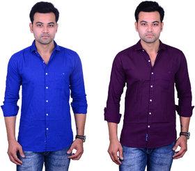 La Milano Men's Solid Cotton Casual Shirt