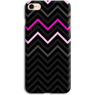 PrintVisa Black Grey White Pink Zigzag Pattern Designer Printed Hard Back Case For iPhone 6 - Multicolor