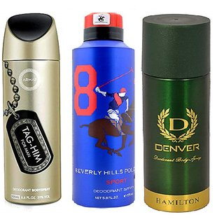 Combo Of 3 Unisex Deo - Deenver,Armaf and Polo -540 ml