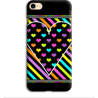 PrintVisa Heart Dil Black Romance Love Pyar Romantic Stripes Designer Printed Hard Back Case For iPhone 6 - Multicolor