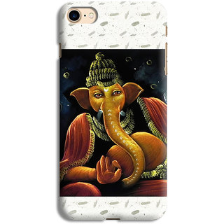 PrintVisa Gold Ganapati Ganesh Ganesha Designer Printed Hard Back Case For iPhone 7 - Multicolor