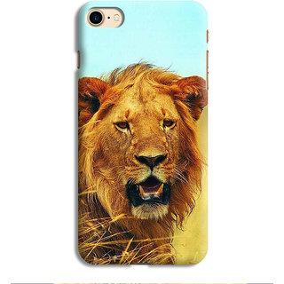 PrintVisa Lion Face Orange Yellow wild Designer Printed Hard Back Case For iPhone 7 - Multicolor